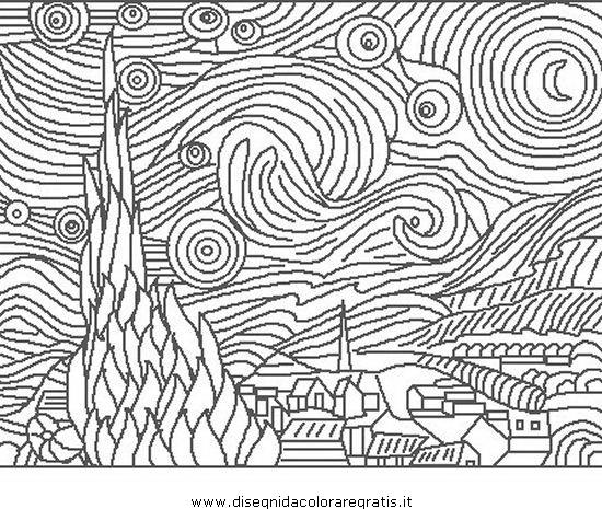 Disegno Van Gogh Starry Night Misti Da Colorare