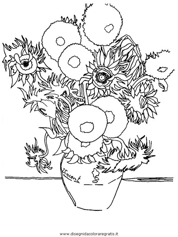 Eccezionale Disegno Van Gogh - I Girasoli misti da colorare BO43