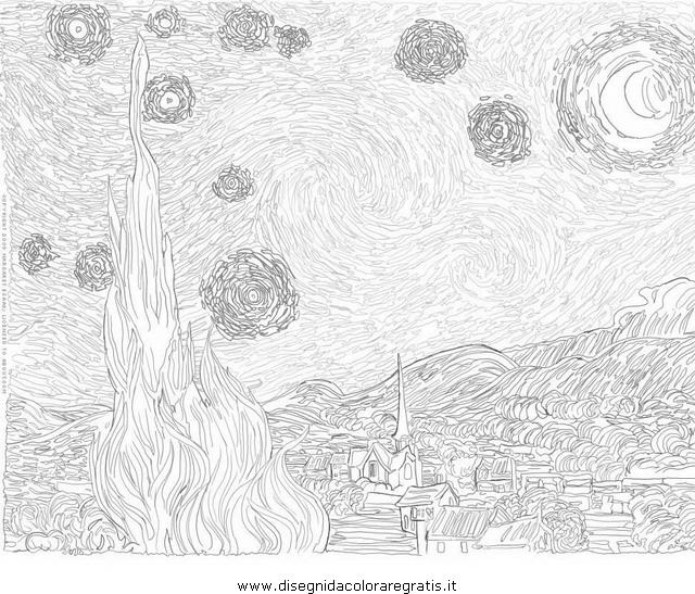 Disegno Van Gogh Starry Night 2 Misti Da Colorare