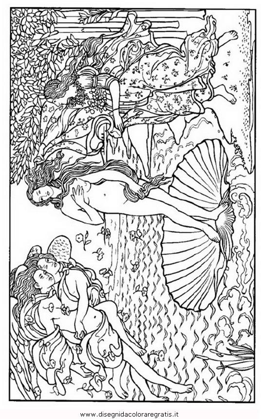 Disegno Botticelli Nascita Venere Misti Da Colorare