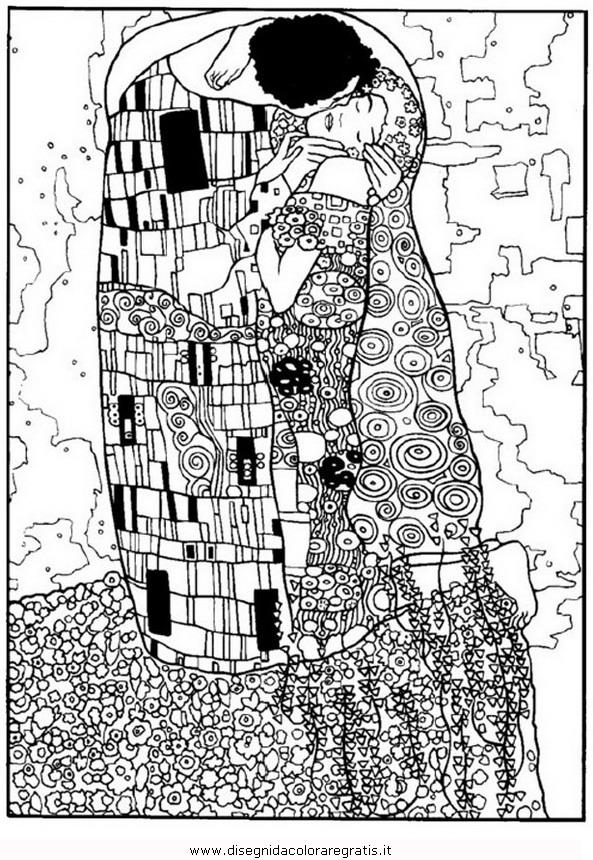 Disegno Klimt Bacio Misti Da Colorare