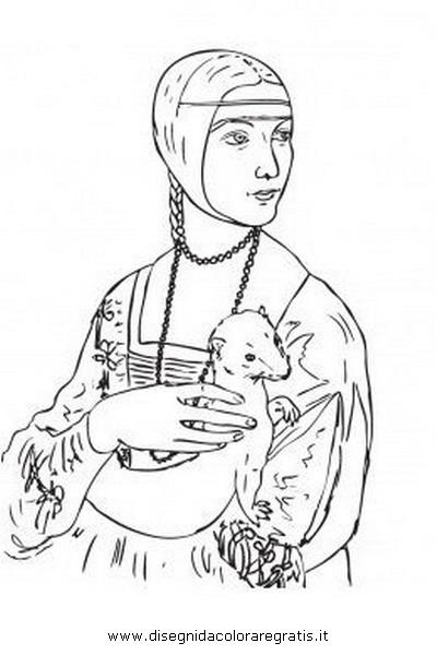 Disegno Leonardo Donna Con Ermellino Misti Da Colorare