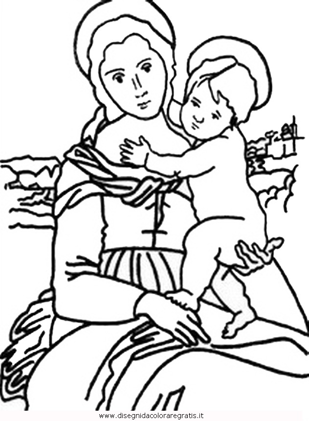 Disegno raffaello madonna con bambino personaggio