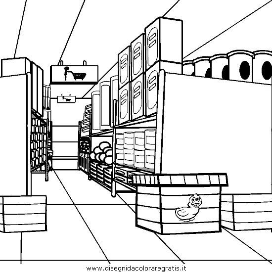 Disegno supermercato personaggio cartone animato da