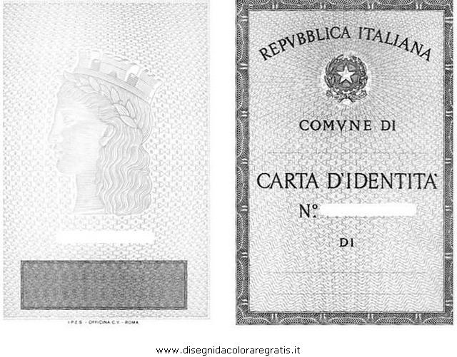 Disegno carta identita 1 misti da colorare for Carta di soggiorno documenti