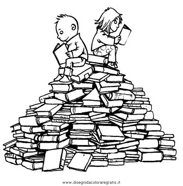Disegno leggere libri misti da colorare for Libri da leggere