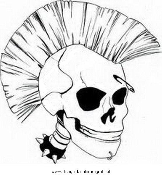 Disegno punk 2 misti da colorare for Teschi da disegnare