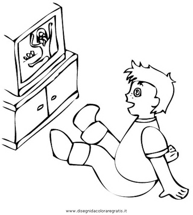 Disegno Televisione Da Colorare.Disegno Guardare Tv 2 Misti Da Colorare