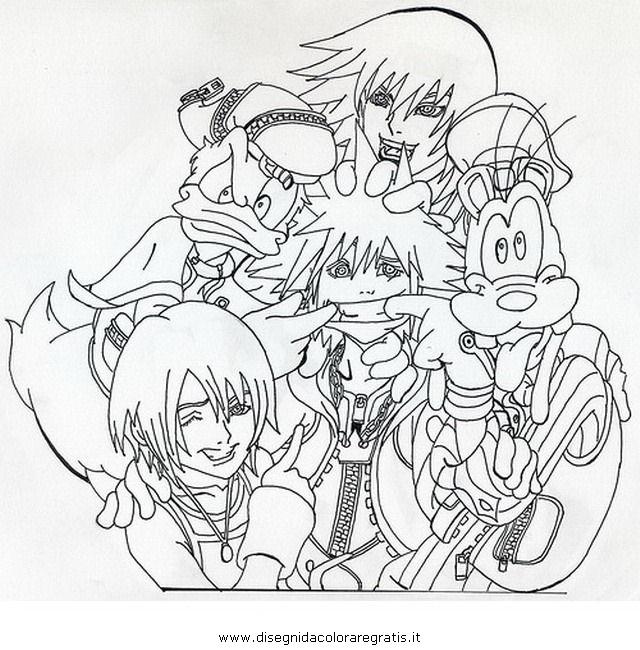 Sora Kingdom Hearts Lineart : Disegno kingdom hearts misti da colorare