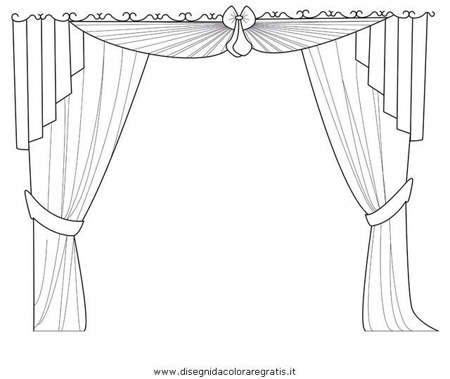 Disegno tende misti da colorare - Immagini di tende da interno ...