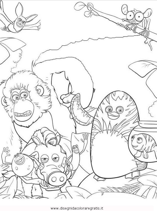 Disegno vita da giungla misti da colorare for Disegni da colorare animali della foresta