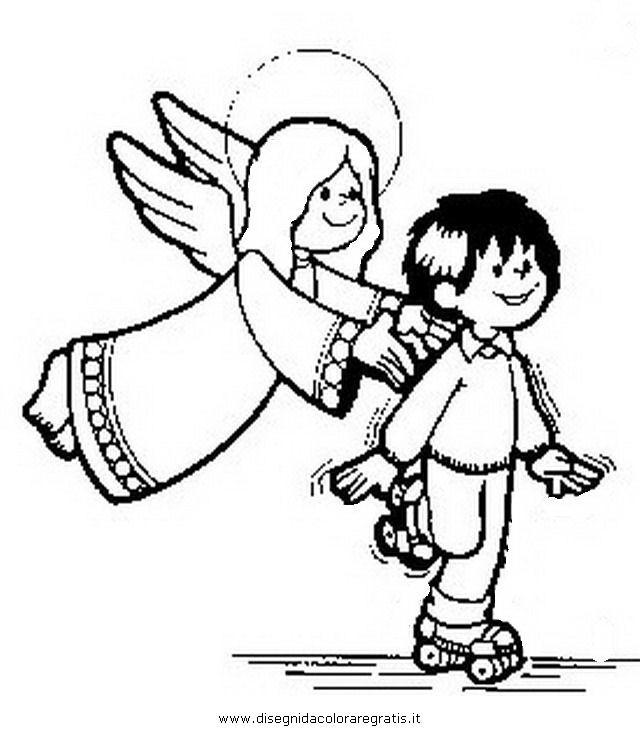 Disegno angelo custode categoria natale da colorare for Angeli da colorare stampare