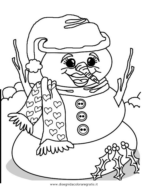 Disegno pupazzo neve personaggio cartone animato da
