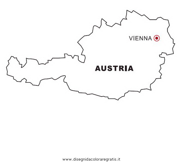 Cartina Del Austria.Disegno Austria Categoria Nazioni Da Colorare