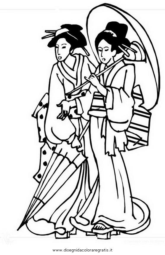 Disegno giappone geisha 2 categoria nazioni da colorare for Disegni paesaggi da colorare