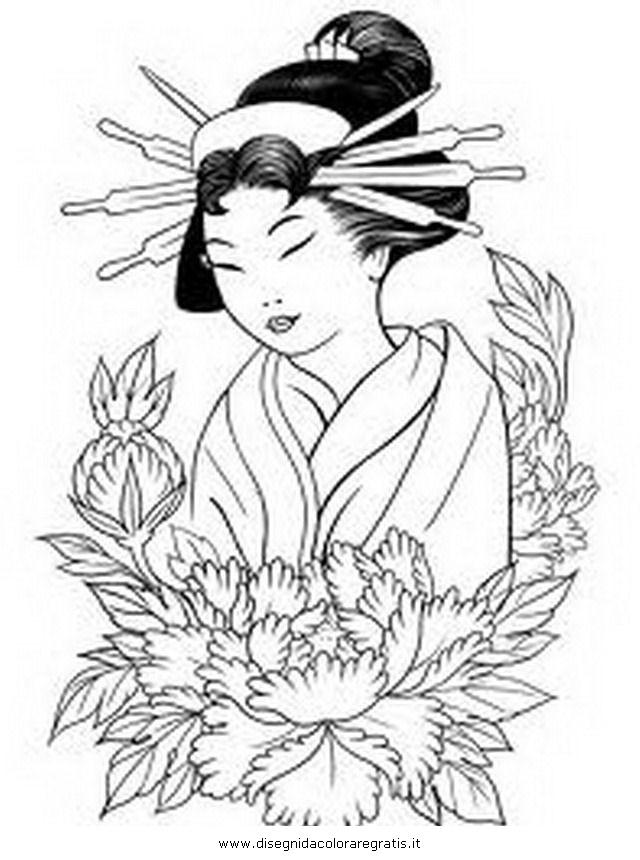 Disegno giappone geisha categoria nazioni da colorare for Disegni tradizionali giapponesi