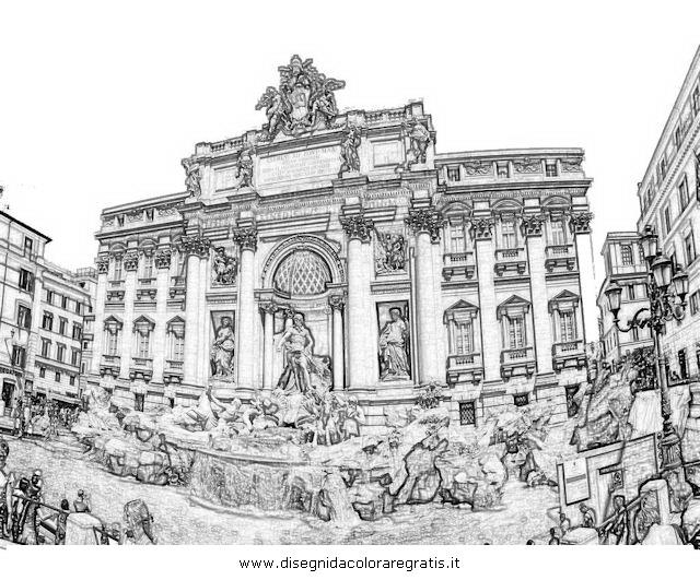 Disegno fontana trevi categoria nazioni da colorare for Disegni della roma da colorare