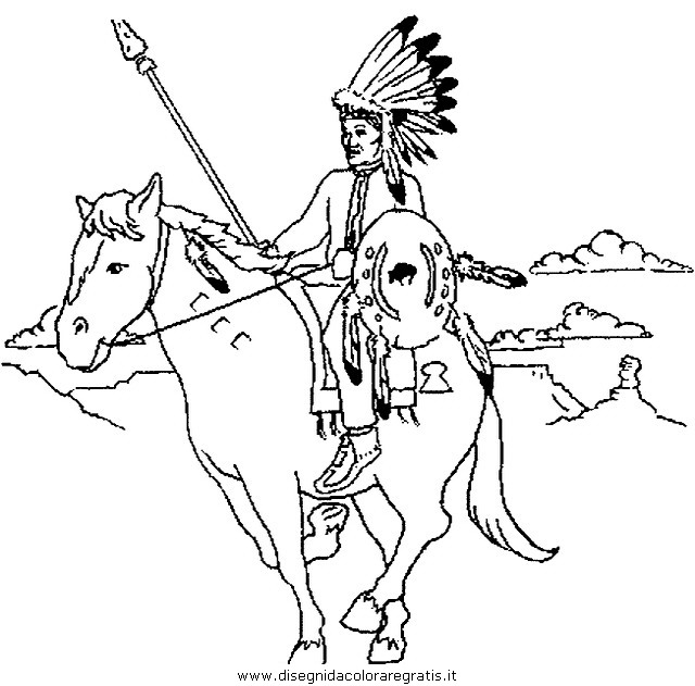 Disegno indiani 05 categoria persone da colorare - Cowboy foglio da colorare ...