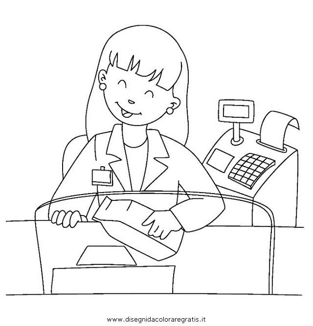 Disegno cassiera personaggio cartone animato da colorare